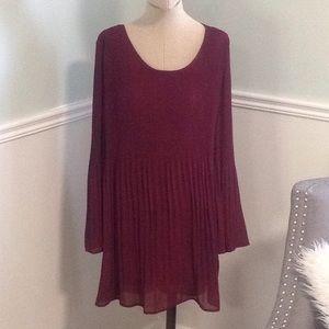 Pleated Burgundy Dress